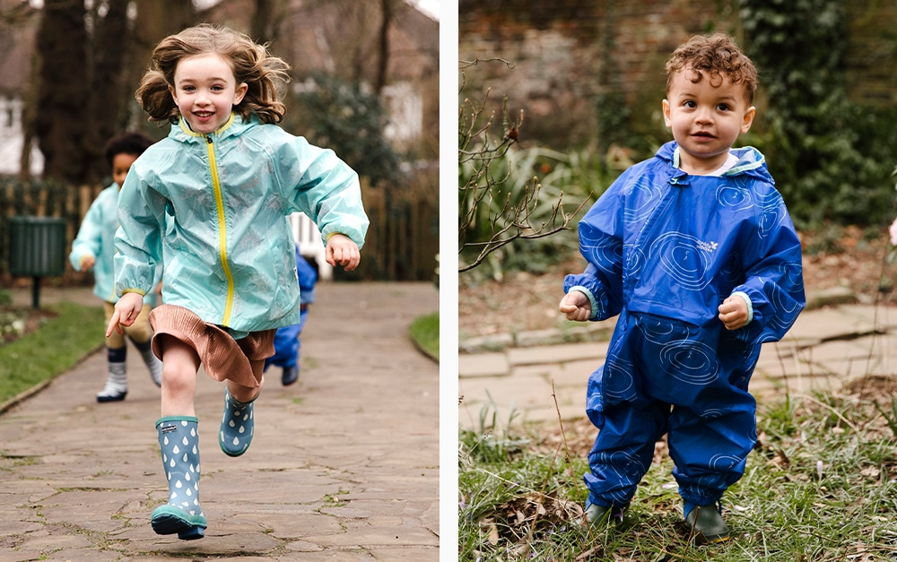 girl running and boy wearing waterproof jacket and suit