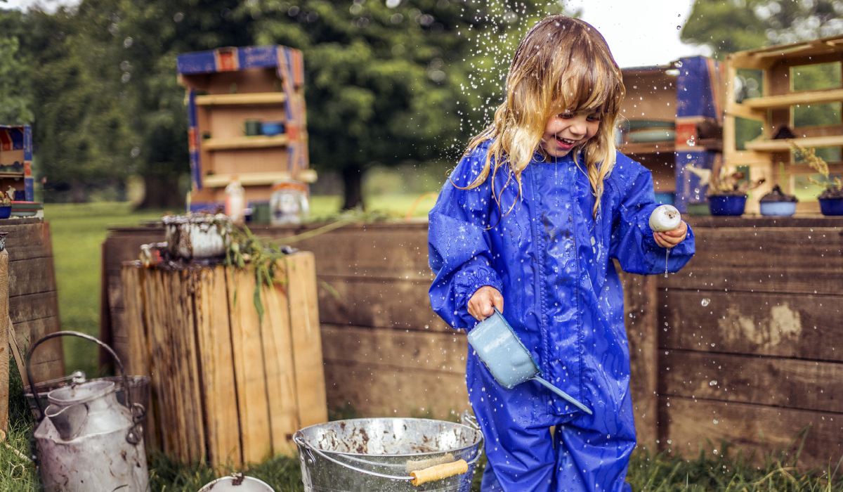 Little girl Outdoor Learning in Muddy Puddles Originals All-in-One