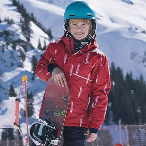 boy blizzard jacket and snowboard
