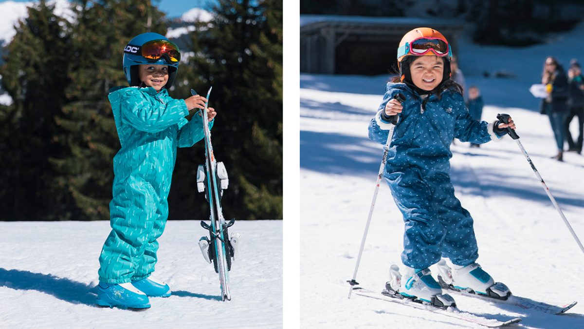children skiing- muddy puddles scampsuit