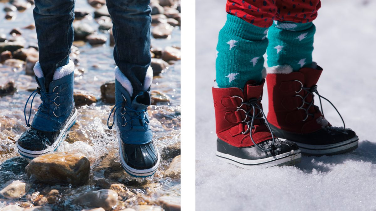 muddy Puddles snowboots in water and snow