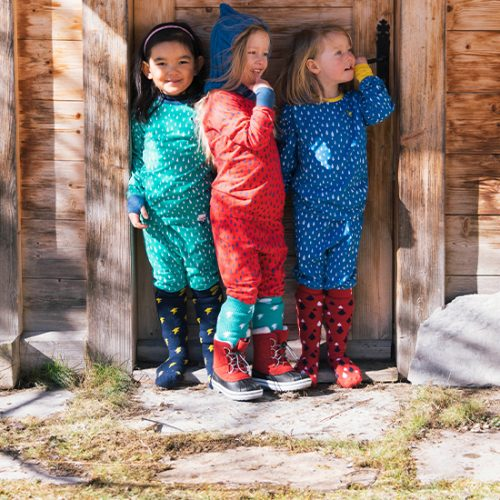 girls wearing Muddy Puddles thermals and snowboots